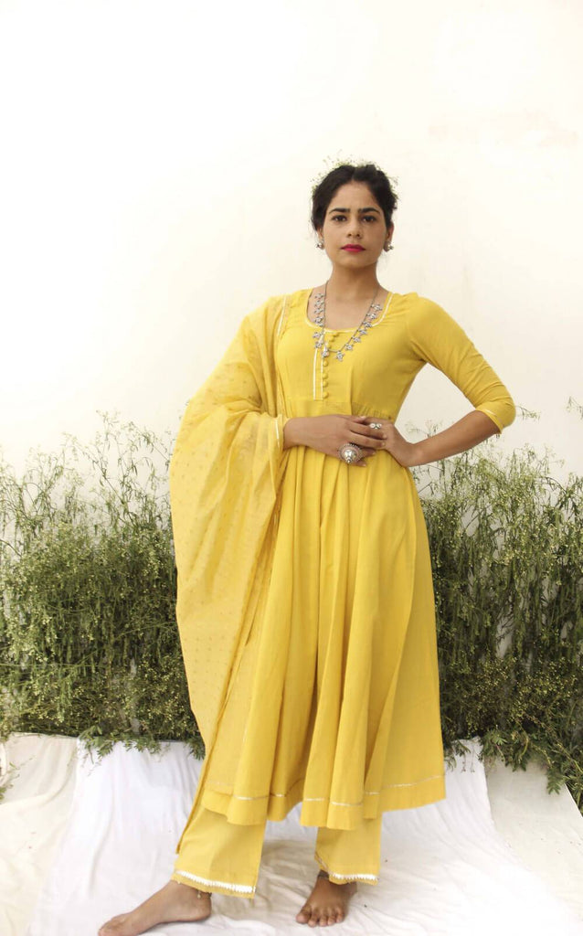 YELLOW ANARKALI SUIT - The Ethnic Fix - Dubai - UAE