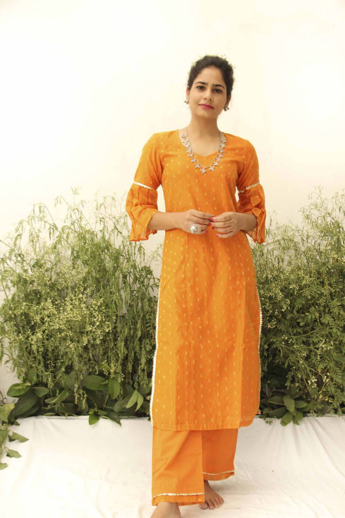 ORANGE CHANDERI STRAIGHT SUIT SET OF 2 - The Ethnic Fix - Dubai - UAE