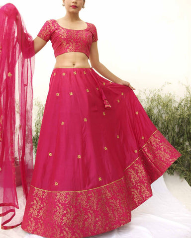 FUCHSIA PINK LEHENGA SET OF 3 - The Ethnic Fix - Dubai - UAE