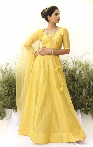 YELLOW CHANDERI LEHENGA SET OF 3 - The Ethnic Fix - Dubai - UAE