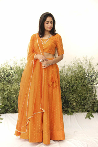 ORANGE CHANDERI LEHENGA SET OF 3 - The Ethnic Fix - Dubai - UAE
