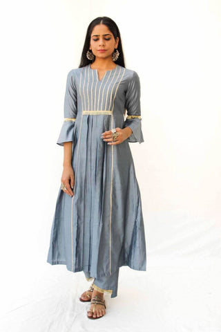 Solid Grey Handloom Silk set of 2 - Box Kurta Pants  - The Ethnic Fix - Dubai - UAE