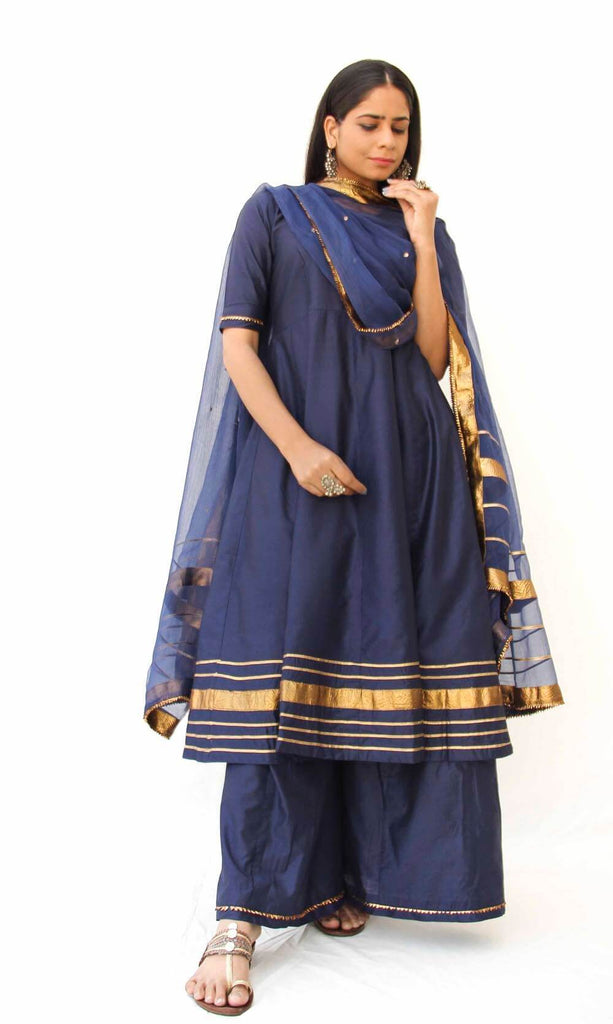 Midnight Anarkali Suit set of 3 - The Ethnic Fix - Dubai - UAE