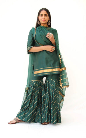 Emerald Green Sharara Suit set of 3  - The Ethnic Fix - Dubai - UAE