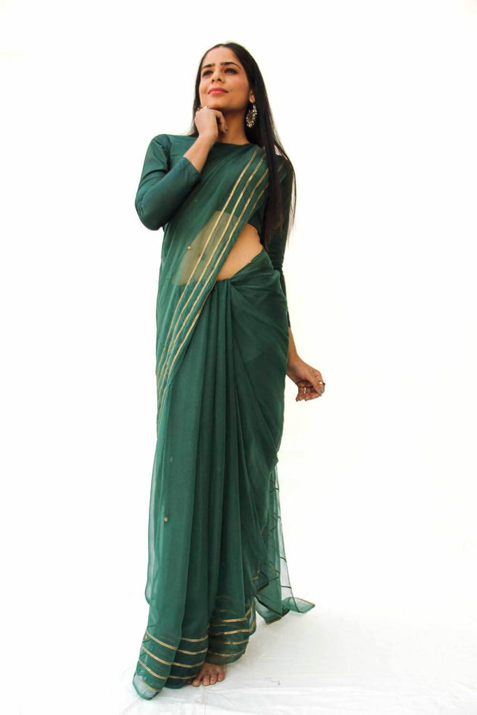 Emerald Chiffon Sari with Blouse Piece - The Ethnic Fix - Dubai - UAE