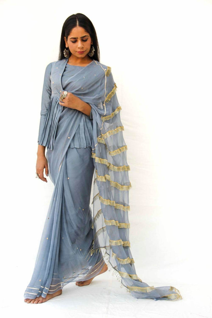 Grey Chiffon Sari with Blouse Piece - The Ethnic Fix - Dubai - UAE