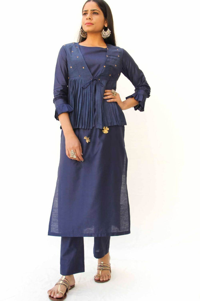 Solid Midnight Blue Straight kurta, Pencil Pants and Jacket set of 3 - The Ethnic Fix - Dubai - UAE
