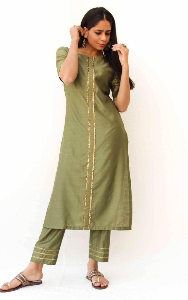 Olive Green Straight Kurta with Bijiya, Pencil Pants - Set of 2 - The Ethnic Fix - Dubai - UAE