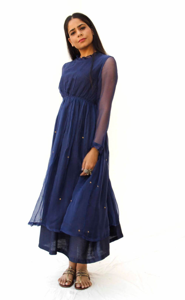 Midnight Blue Ruffle Chiffon Dress - The Ethnic Fix - Dubai - UAE
