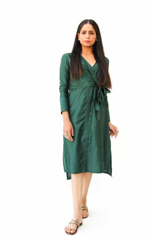 Emerald Green Side Knot Wrap Dress - The Ethnic Fix - Dubai - UAE