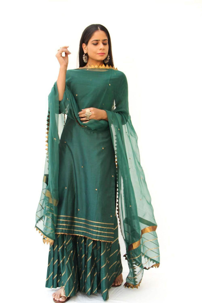 Emerald Green Straight Kurta with Hand Emboidery & Gota Detailed Sharara - Set of 3 - The Ethnic Fix - Dubai - UAE