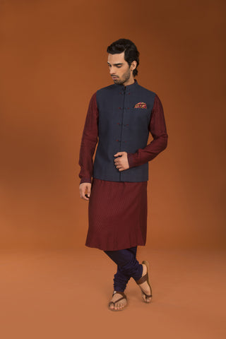 Maroon kurta with embroidery - The Ethnic Fix - Dubai - UAE