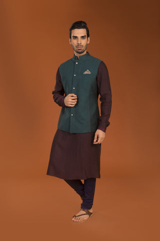 Wine kurta with embroidery - The Ethnic Fix - Dubai - UAE