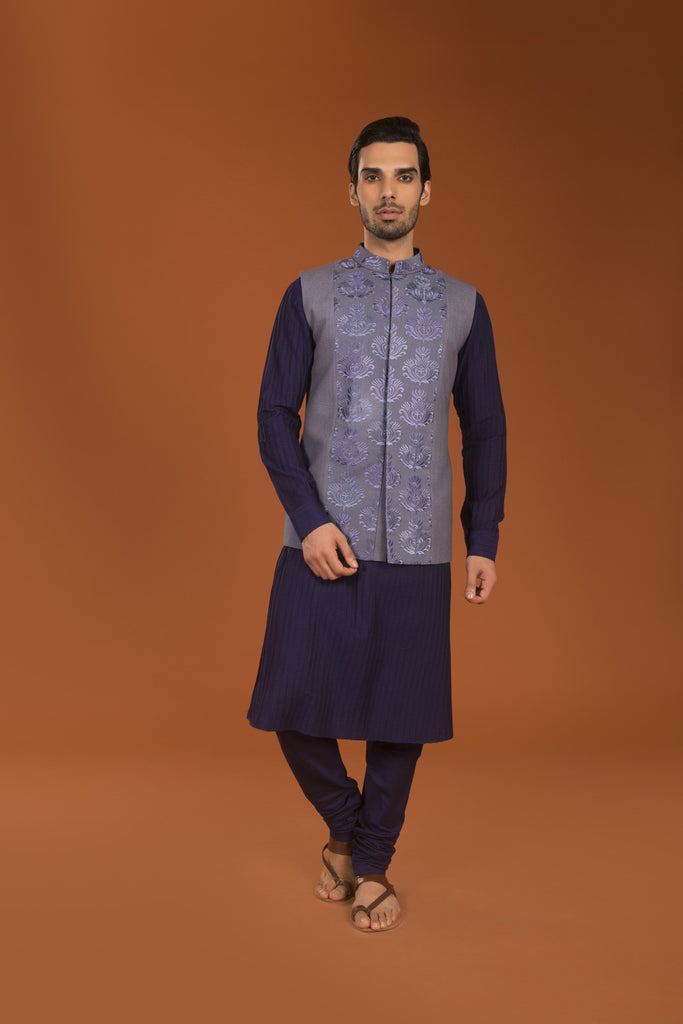 Navy spun pintucked kurta churidar - The Ethnic Fix - Dubai - UAE