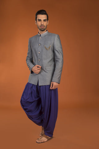 Grey jacarde bandhgala salwar set - The Ethnic Fix - Dubai - UAE
