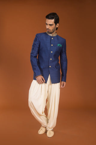Cobalt blue raw silk bandhgala dhoti set - The Ethnic Fix - Dubai - UAE