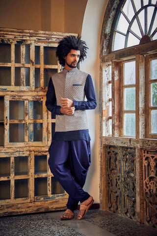 Slate Grey & Navy Gridirion Lazercut Bandhi - The Ethnic Fix - Dubai - UAE