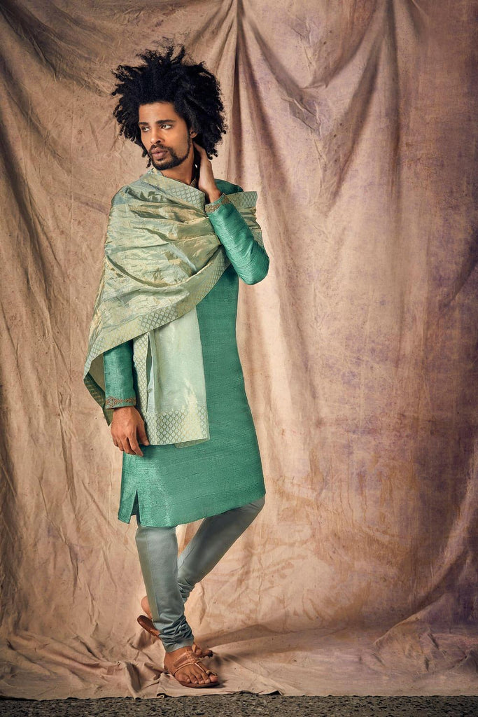 Lucite Green & Antique Gold Embroidered Kurta Set  - The Ethnic Fix - Dubai - UAE