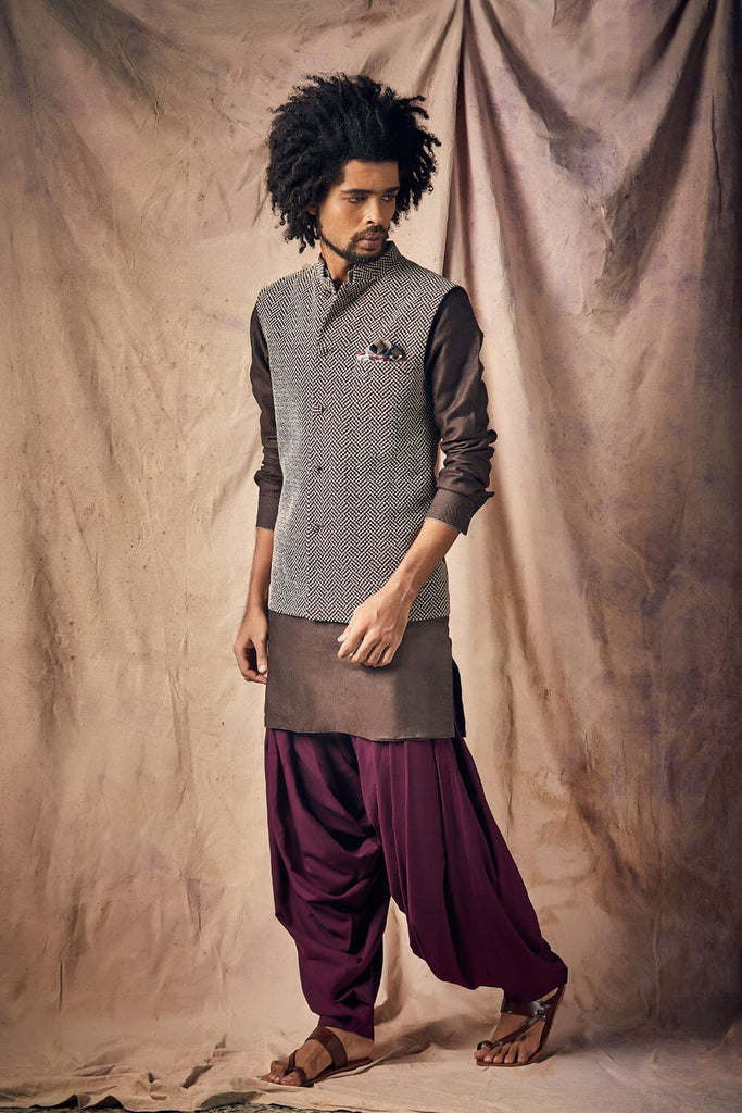Dark Brown Ashwood Short Kurta with Wine Patiala Salwar - The Ethnic Fix - Dubai - UAE