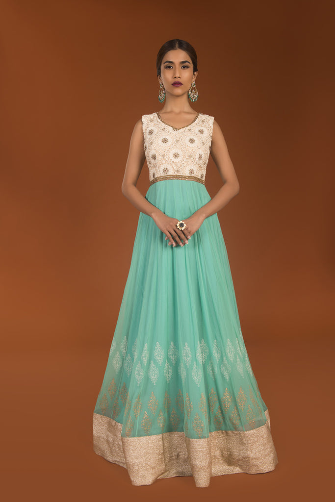 Offwhite & Turquoise Resham Stone Embroidered Anarkalli Dress - The Ethnic Fix - Dubai - UAE