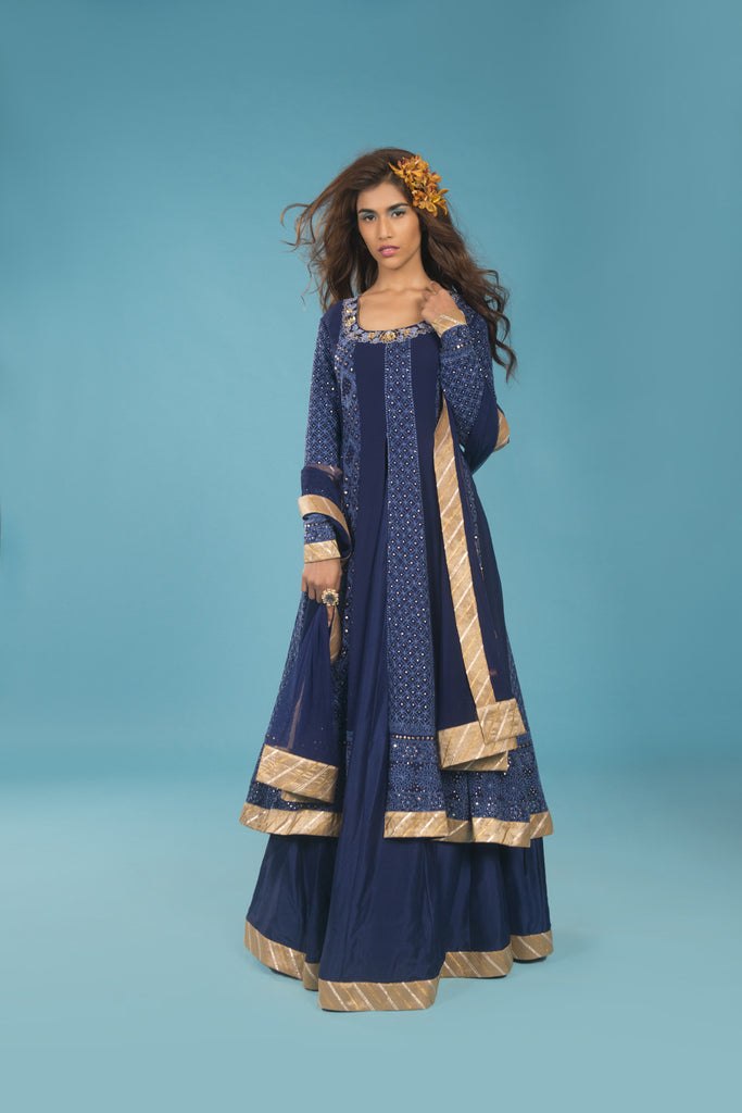 Navy blue lucknowi anarkalli - The Ethnic Fix - Dubai - UAE