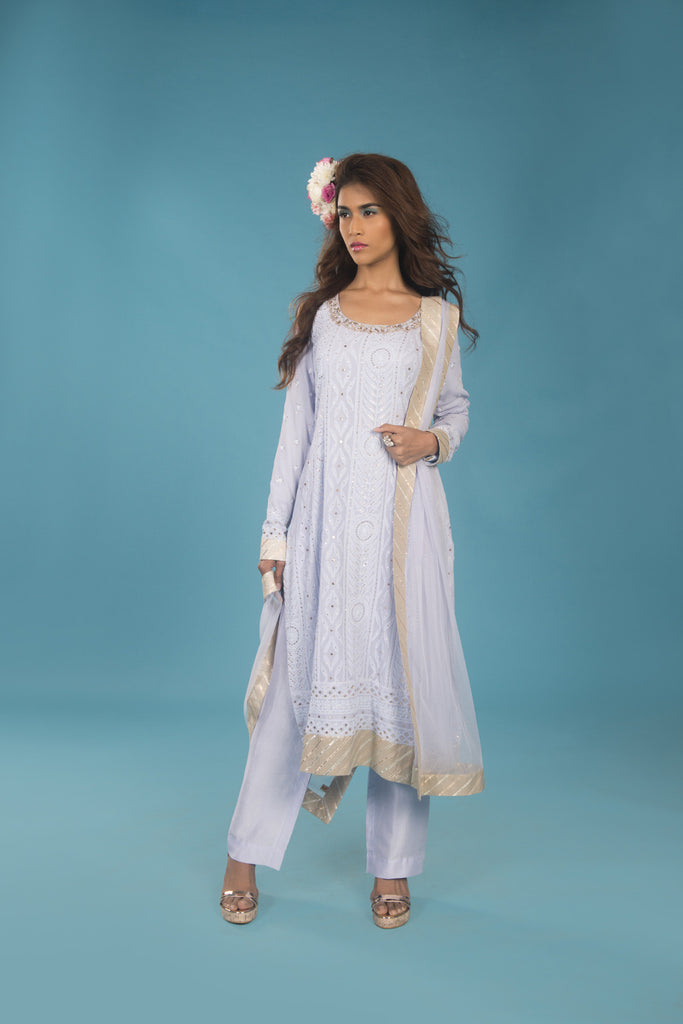 Serenity blue lucknowi straight cut kurta set - The Ethnic Fix - Dubai - UAE