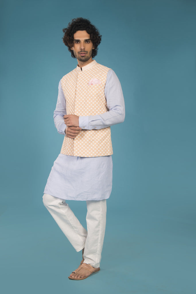 Peach and off white embroidered cotton bandhi - The Ethnic Fix - Dubai - UAE