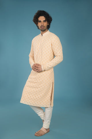 Peach and off white embroidered lucknowi kurta - The Ethnic Fix - Dubai - UAE