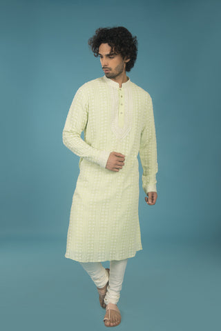 Light green and off white embroidered lucknowi kurta - The Ethnic Fix - Dubai - UAE