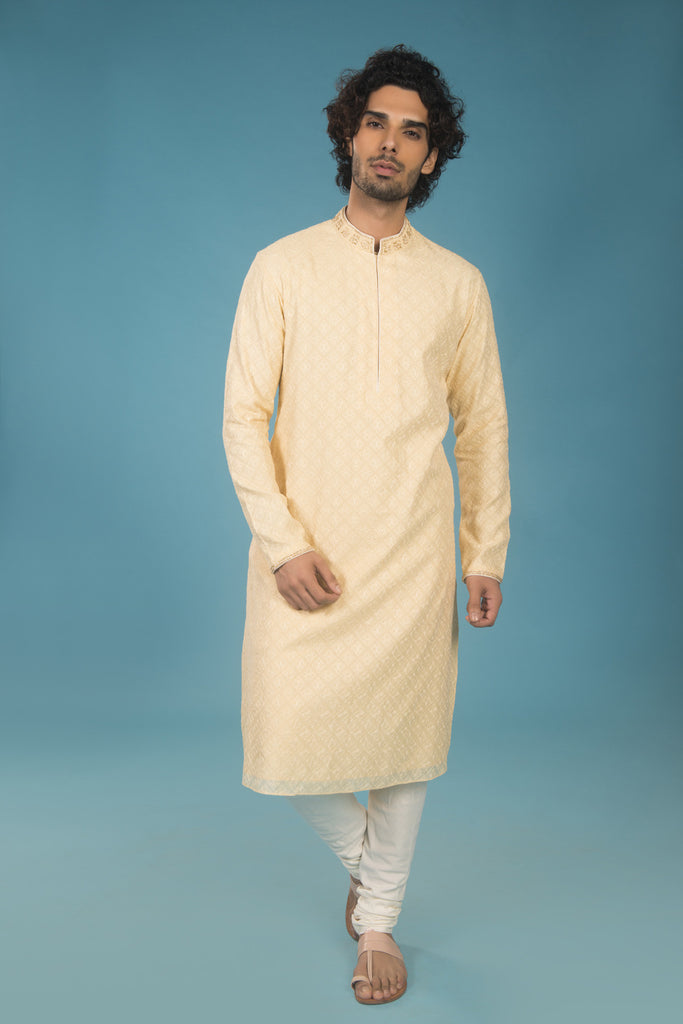 Yellow and Off White Embroidered Resham Kurta Set - The Ethnic Fix - Dubai - UAE