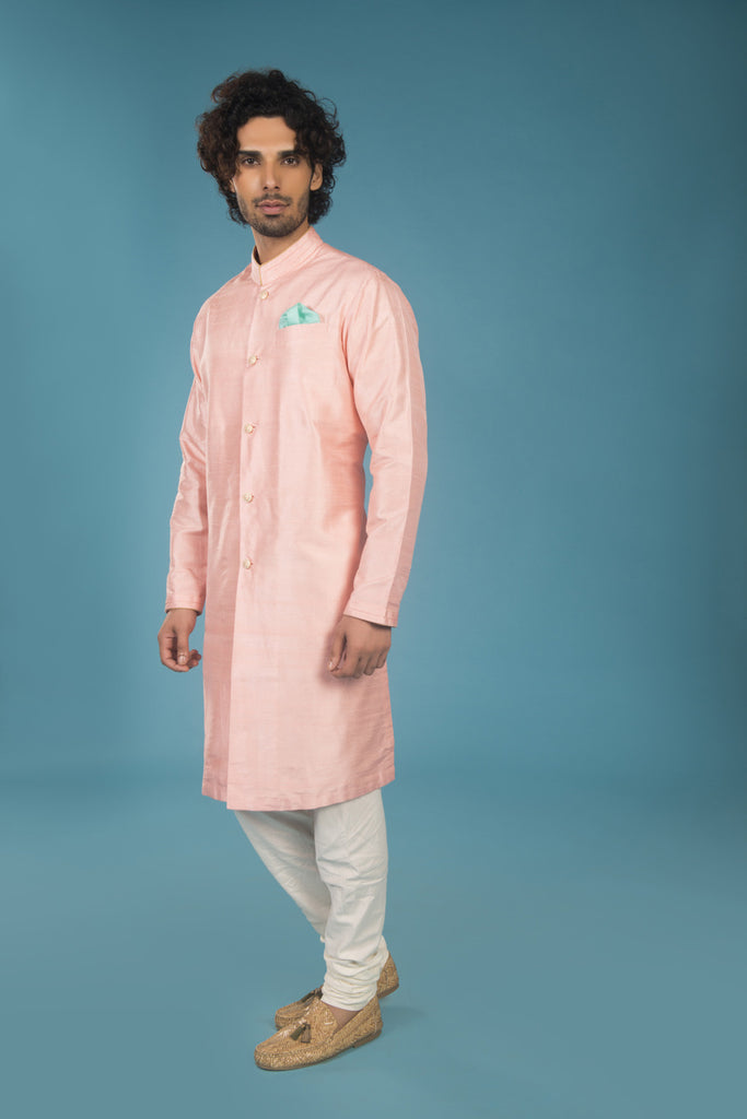 Rose Quartz Raw Silk Formal Kurta Set - The Ethnic Fix - Dubai - UAE