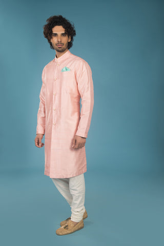 Rose quartz raw silk formal kurta - The Ethnic Fix - Dubai - UAE