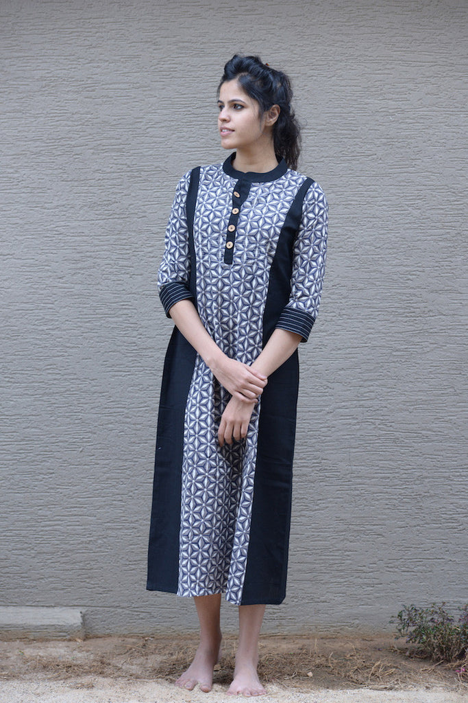 Black Printed Kurta - The Ethnic Fix - Dubai - UAE