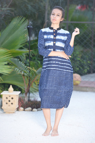 Blue Dress Style Kurta - The Ethnic Fix - Dubai - UAE
