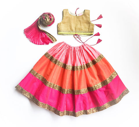 Colour Block Sunset Lehenga - The Ethnic Fix - Dubai - UAE