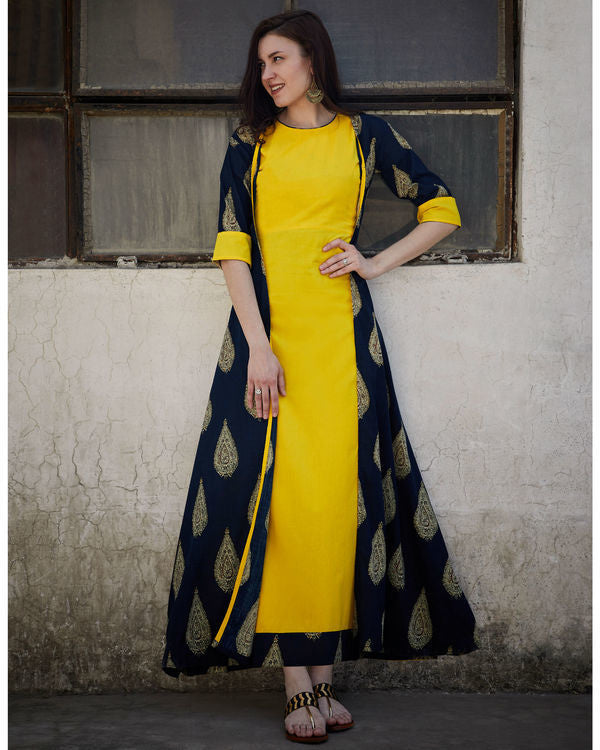 Pineapple And Navy Cape Dress - The Ethnic Fix - Dubai - UAE