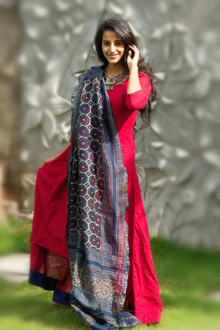 Berry Red Tunic With Dupatta - The Ethnic Fix - Dubai - UAE