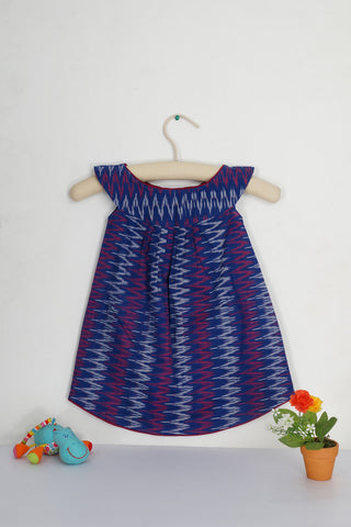 Zig zag ikat round collar dress - The Ethnic Fix - Dubai - UAE