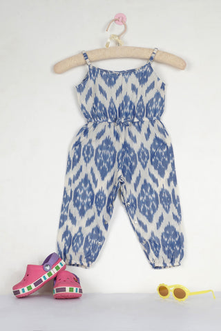 Jade Blue Ikat Jumpsuit - The Ethnic Fix - Dubai - UAE