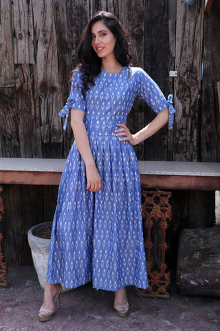 Steel Blue Knot Sleeve Dress