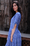 Steel Blue Knot Sleeve Dress - The Ethnic Fix - Dubai - UAE