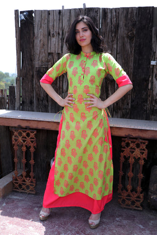 Basil and Coral Double Layered Dress - The Ethnic Fix - Dubai - UAE