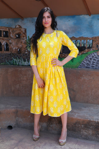 Citrus Yellow Midi - The Ethnic Fix - Dubai - UAE