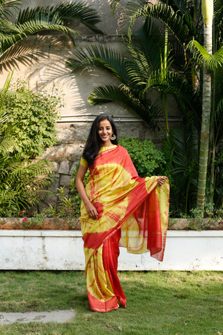 Sunrise Hues Chanderi Sari - The Ethnic Fix - Dubai - UAE