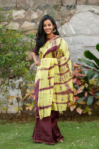 Plum And Yellow Chanderi Sari - The Ethnic Fix - Dubai - UAE