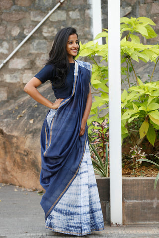 Persian Blue And White Chanderi Sari - The Ethnic Fix - Dubai - UAE