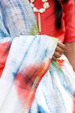 Multi Shaded On White Chanderi Sari