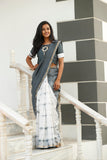 Dove And Ash Grey Chanderi Sari - The Ethnic Fix - Dubai - UAE