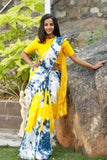 Yellow And Prussian Blue Chanderi Sari