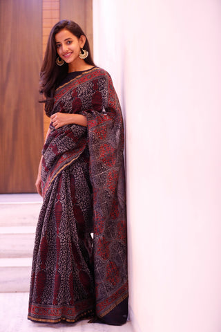 Black And Maroon Motif Sari - The Ethnic Fix - Dubai - UAE